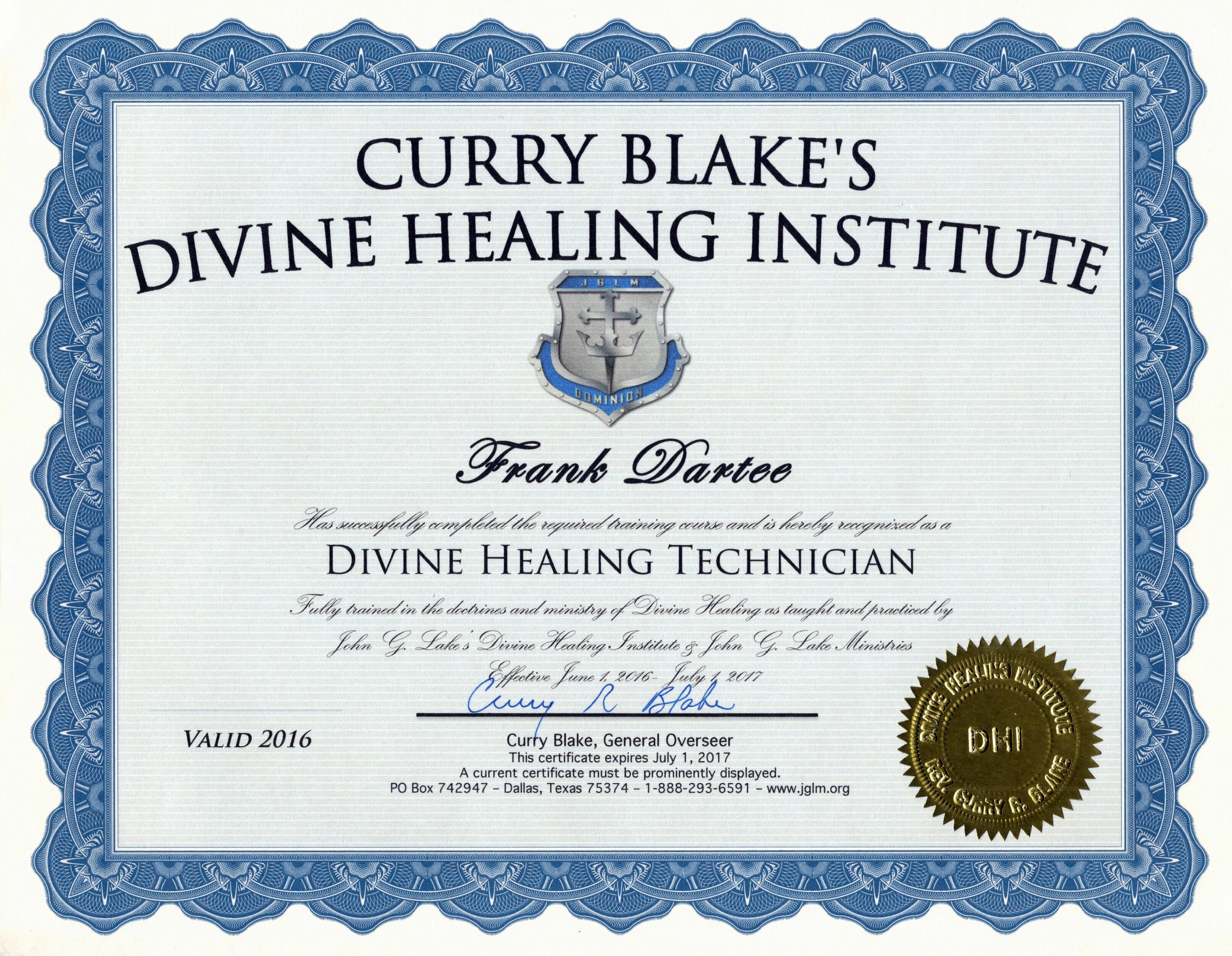 FMD CDHT Certificate 2016